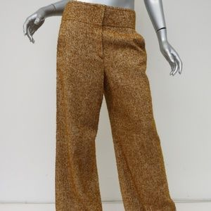 Chanel Tweed Pants Mustard Wool-Blend Size 38